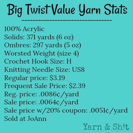 Big Twist Value Yarn Specs